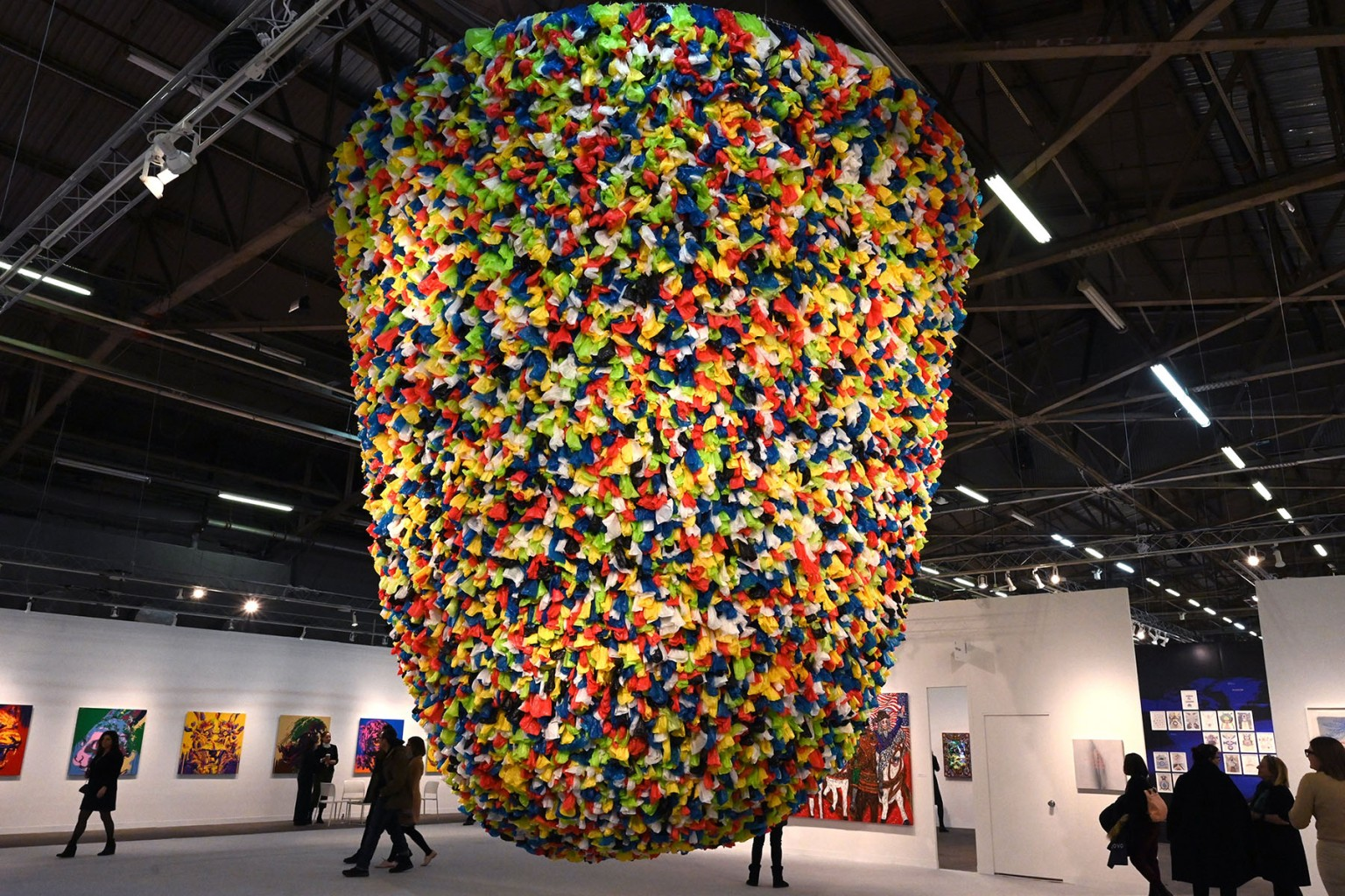 "Artist Pascale Marthine Tayou's ""Plastic Bags"" is on display at the The Armory Show in New York on March 6. TIMOTHY A. CLARY/AFP/Getty Images"