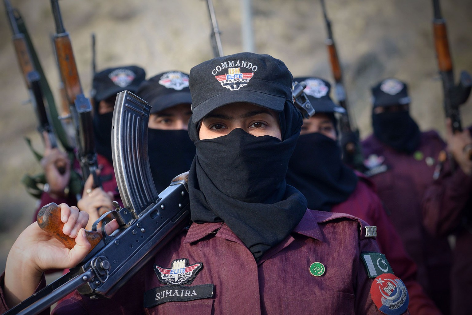 Pakistani police commandos carry assault rifles as they take part in an exercise at a police training centre in Nowshera on March 7. ABDUL MAJEED/AFP/Getty Images