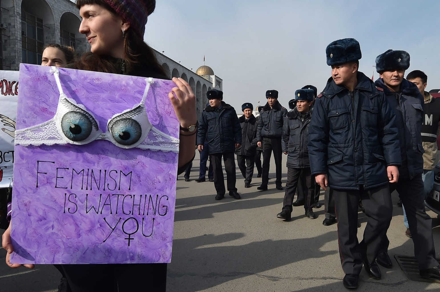 A woman takes part in an International World Women's Day rally in Bishkek, Kyrgyzstan, on March 8. VYACHESLAV OSELEDKO/AFP/Getty Images