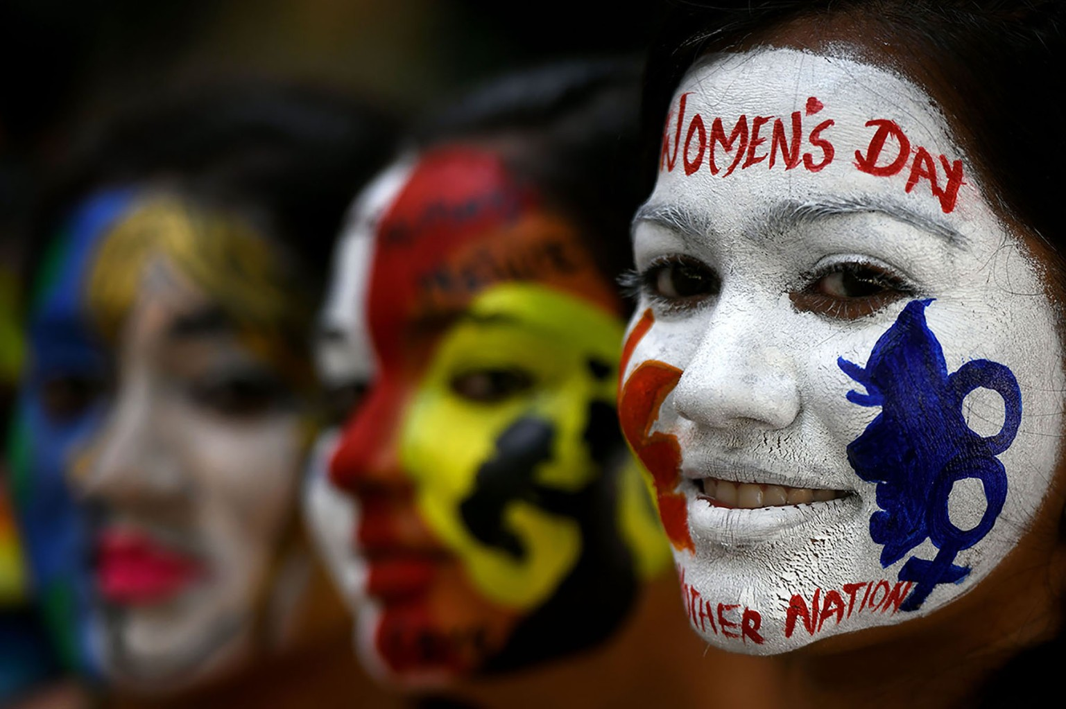 Indian students pose during an International Women's Day celebration at a college in Chennai on March 8. (Arun Sankar/AFP/Getty Images)