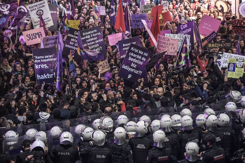 Protestors confront police at a rally marking International Women's Day in Istanbul on March 8. (Ozan Kose/AFP/Getty Images)