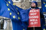 Anti-Brexit protesters demonstrate outside the Houses of Parliament on March 13, ahead of a week of crucial votes on the future of Britain's relationship with Europe. (Jack Taylor/Getty Images)