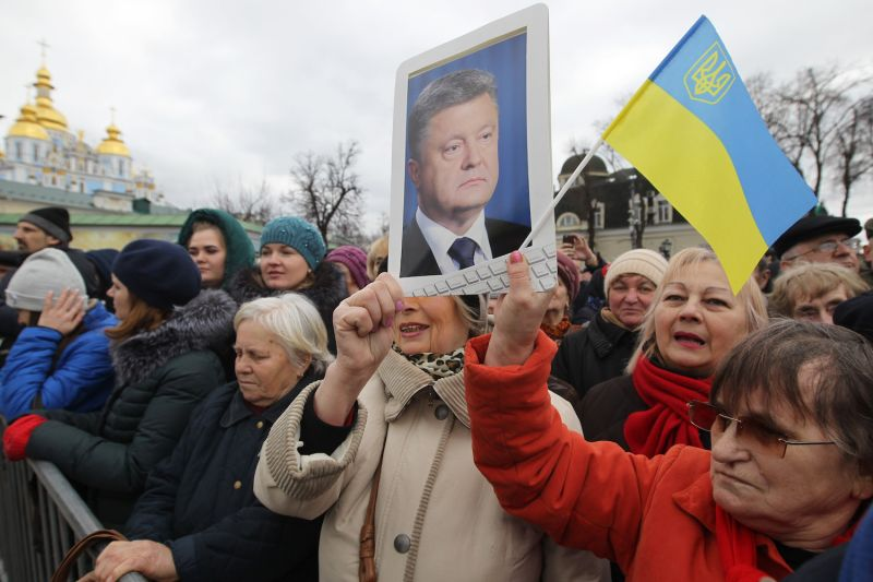 People attend a rally for Ukrainian President Petro Poroshenko in Kiev on March 17. (Sergei Supinsky/AFP/Getty)