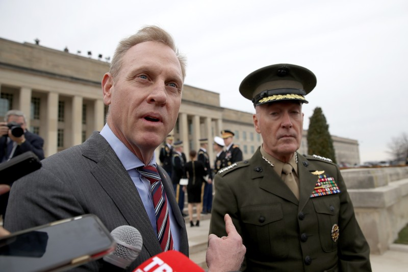 Acting Secretary of Defense Patrick Shanahan and Chairman of the Joint Chiefs of Staff Gen. Joseph Dunford answer questions before an arrival ceremony for Turkish Minister of Defense Hulusi Akar at the Pentagon  February 22, 2019 in Arlington, Virginia. (Win McNamee/Getty Images)