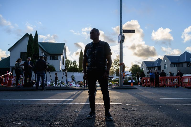 Derek Tait, a biker and pastor prepares to speak to a crowd of people before the haka was performed as a tribute to victims in Christchurch on March 20, 2019, five days after the twin mosque shootings. (Anthony Wallace/AFP/Getty Images)