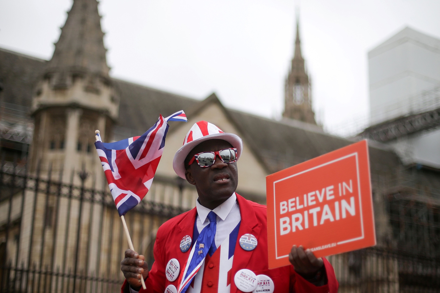 Pro-Brexit activist Joseph Afrane demonstrates outside the Houses of Parliament in central London on March 20. (Daniel Leal-Olivas/AFP/Getty Images)