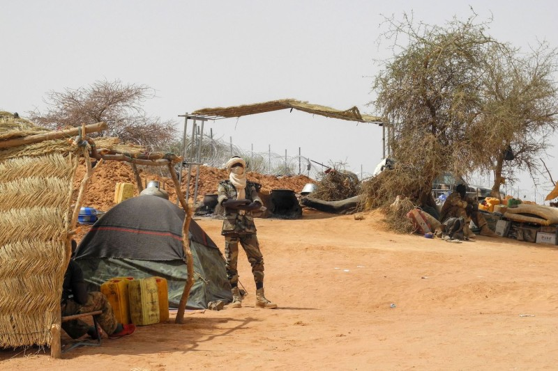 A member of the Malian Army at the military base in Anderamboukane, Menaka region, on March 22. (Agnes Coudurier/AFP/Getty Images)