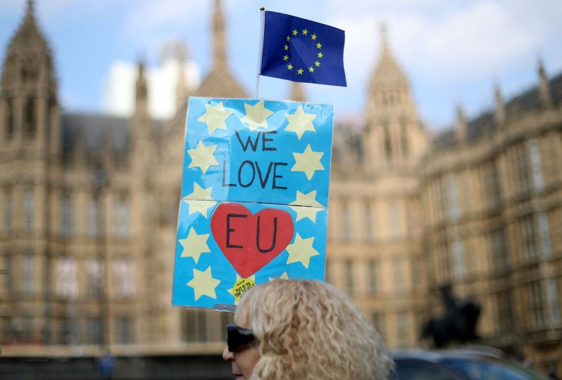 Anti-Brexit activists demonstrate outside the Houses of Parliament in Westminster, London, on March 28 (Daniel Leal-Olivas/AFP/Getty Images)