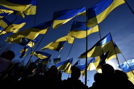 Supporters of Ukrainian presidential candidate Yulia Tymoshenko at a pre-election rally in Kiev on March 29. (Vasily Maximov/AFP/Getty Images)
