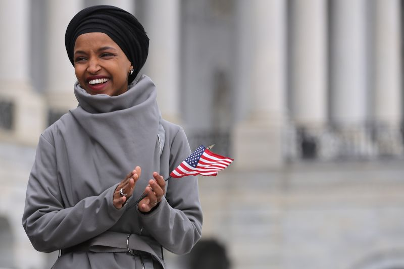 Rep. Ilhan Omar rallies with fellow Democrats before voting on H.R. 1, or the People Act, at the U.S. Capitol on March 08, 2019 in Washington. (Chip Somodevilla/Getty Images)