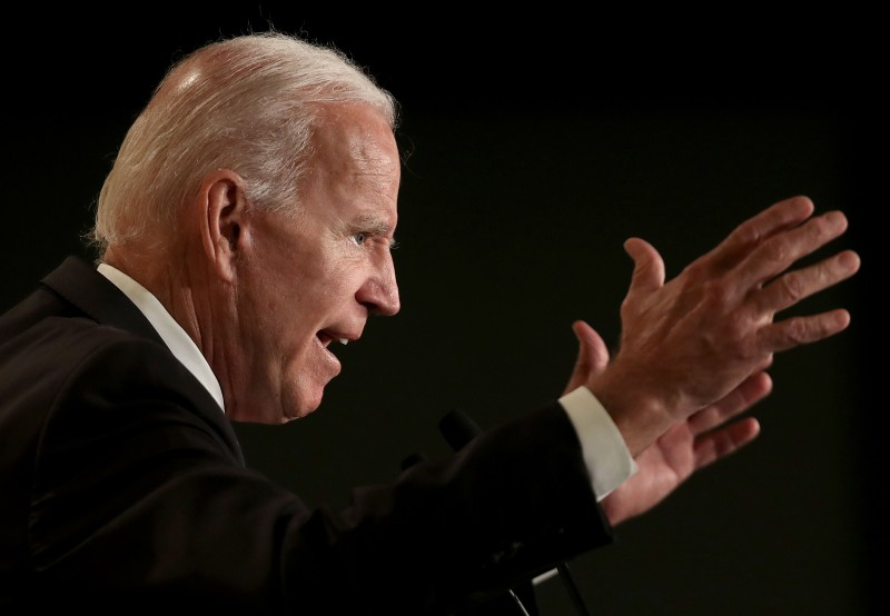 Joe Biden speaks at the International Association of Fire Fighters legislative conference in Washington on March 12.