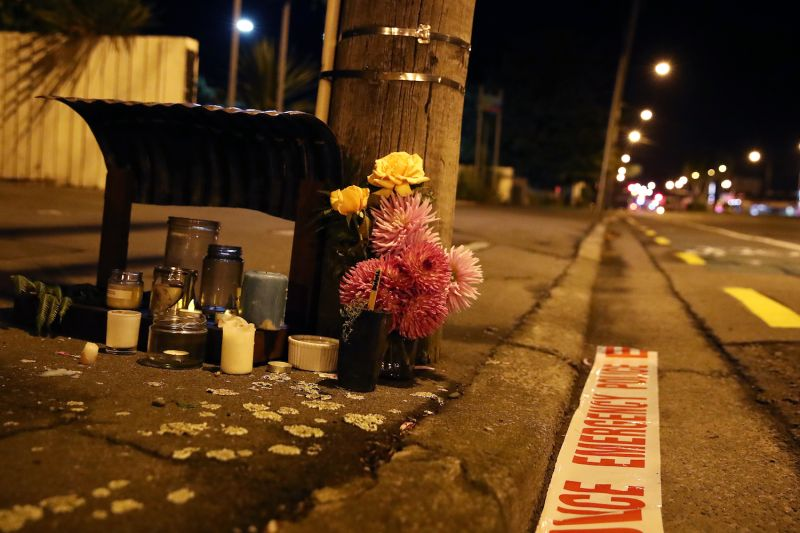 Flowers left near the Al Noor Mosque in Christchurch, New Zealand on March 16. (Fiona Goodall/Getty Images)