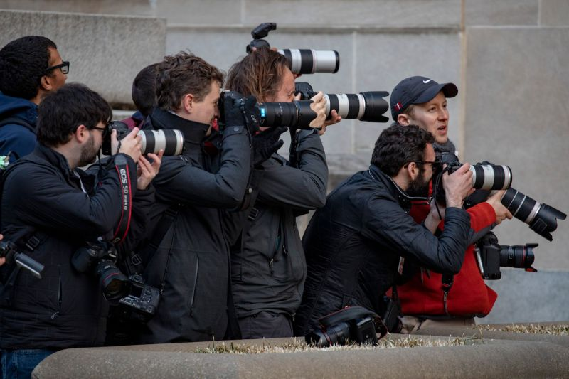 Photographers outside the U.S. Justice Department in Washington on March 22, after special counsel Robert Mueller delivered his report to Attorney General William Barr. (Tasos Katopodis/Getty Images)
