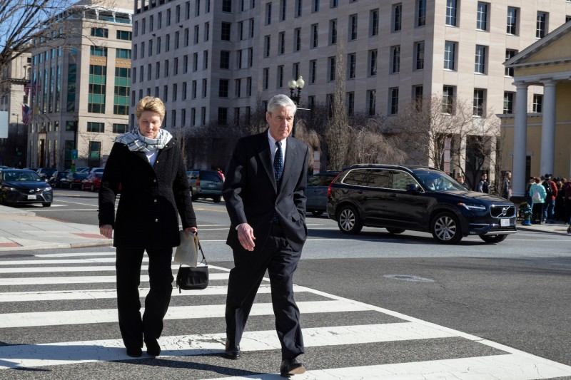 Special counsel Robert Mueller and his wife, Ann Mueller, walk in Washington on March 24. (Tasos Katopodis/Getty Images)
