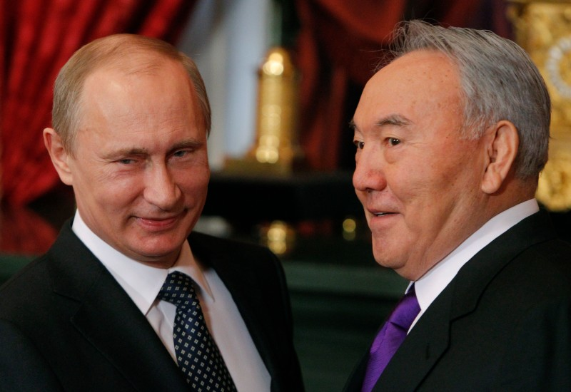 Russian President Vladimir Putin welcomes his Kazakh counterpart Nursultan Nazarbayev in the Kremlin in Moscow, on Dec. 19, 2012. (Maxim Shemetov/AFP/Getty Images)