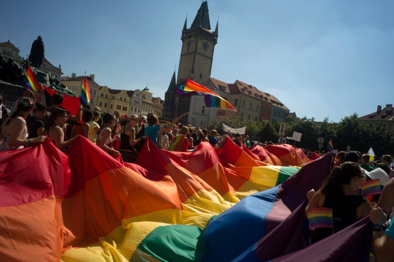 Participants at a gay pride festival in Prague celebrate on Aug. 17, 2013. (Michal Cizek/AFP/Getty Images)