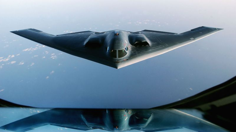 A B-2 Spirit Stealth Bomber flies over the Indian Ocean after completing a mission over Iraq on March 27, 2003. (Cherie A. Thurlby/U.S. Air Force/Getty Images)