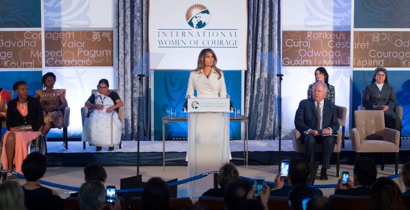 First lady Melania Trump honors the International Women of Courage awardees during a ceremony at the State Department in Washington on March 29, 2017. (Jim Watson/AFP/Getty Images)