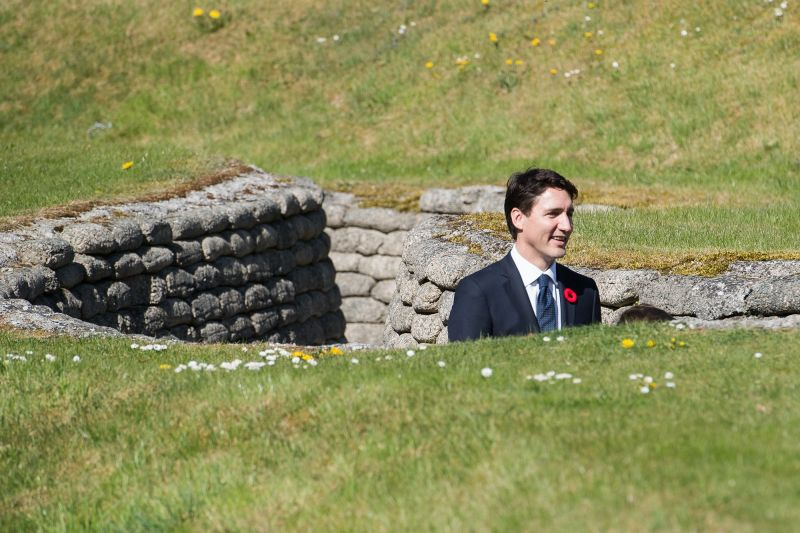 Canadian Prime Minister Justin Trudeau walks through a trench during the commemorations for the 100th anniversary of the battle of Vimy Ridge on April 9, 2017, in Lille, France.  (Samir Hussein/WireImage/Getty Images)
