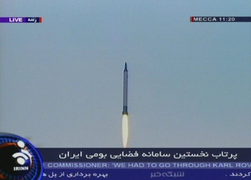 An image grab taken from the state-run Islamic Republic of Iran News Network (IRINN) on Feb. 4, 2008 shows a large rocket fired from the country's first space center in a desert in northern Semnan province. (AFP/Getty Images)