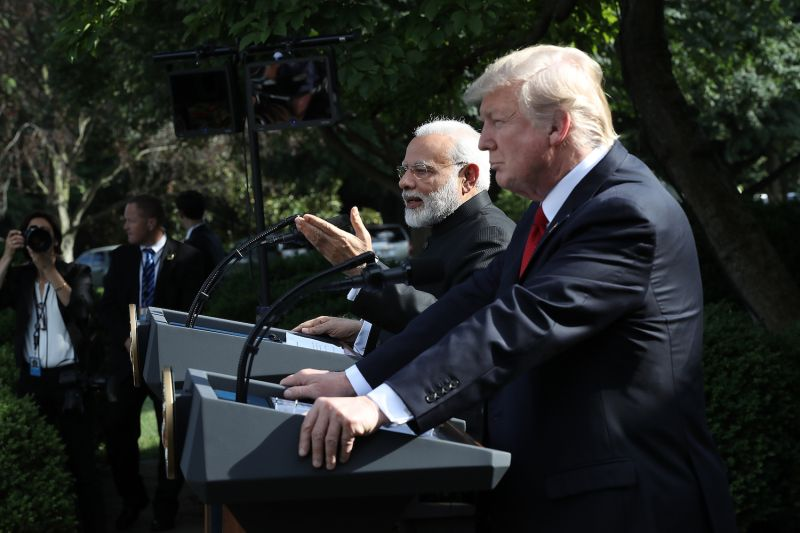 U.S. President Donald Trump and Indian Prime Minister Narendra Modi deliver joint statements in the Rose Garden of the White House on June 26, 2017. (Win McNamee/Getty Images)