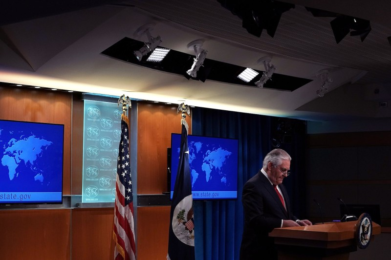 Then-U.S. Secretary of State Rex Tillerson makes a statement announcing his departure from the State Department on March 13, 2018. (Alex Wong/Getty Images)