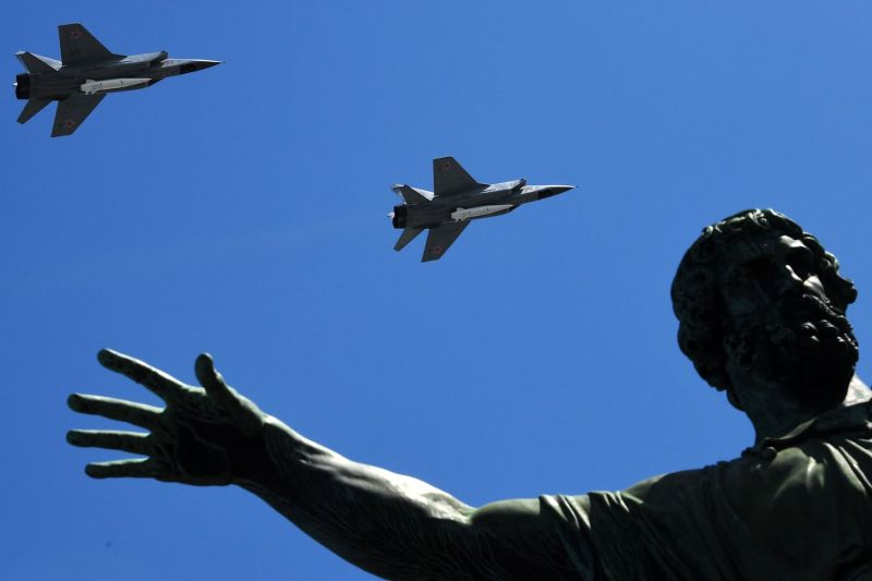 Russia's MiG-31 supersonic interceptor jets carrying hypersonic Kinzhal missiles fly over Red Square during the Victory Day military parade in Moscow on May 9, 2018. (Kirill Kudryatsev/AFP/Getty Images)