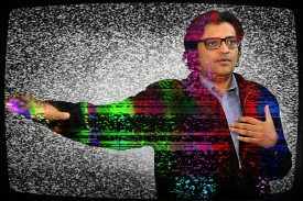 Indian television journalist Arnab Goswami in 2017. (Sujit Jaiswal/AFP/Getty Images/Foreign Policy illustration)