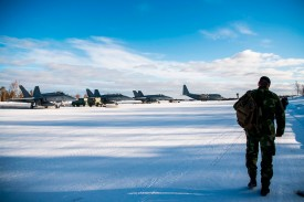 Finnish F-18 Hornet planes at Rovaniemi airport during a joint exercise between the Finnish and the Swedish air forces over the Arctic Circle on March 25, 2019.