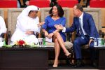 Israeli Culture and Sport Minister Miri Regev (C), Mohamed Bin Thaaloob al-Derai, President of UAE Wrestling Judo, and Kickboxing Federation (L) and International Judo Federation President Marius Vizer (R) chat during the Abu Dhabi Grand Slam Judo tournament in the Emirati capital Abu Dhabi on October 27, 2018.