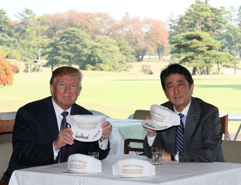 President Trump and PM Abe before a golf game in Kawagoe, Japan. GOVERNMENT OF JAPAN