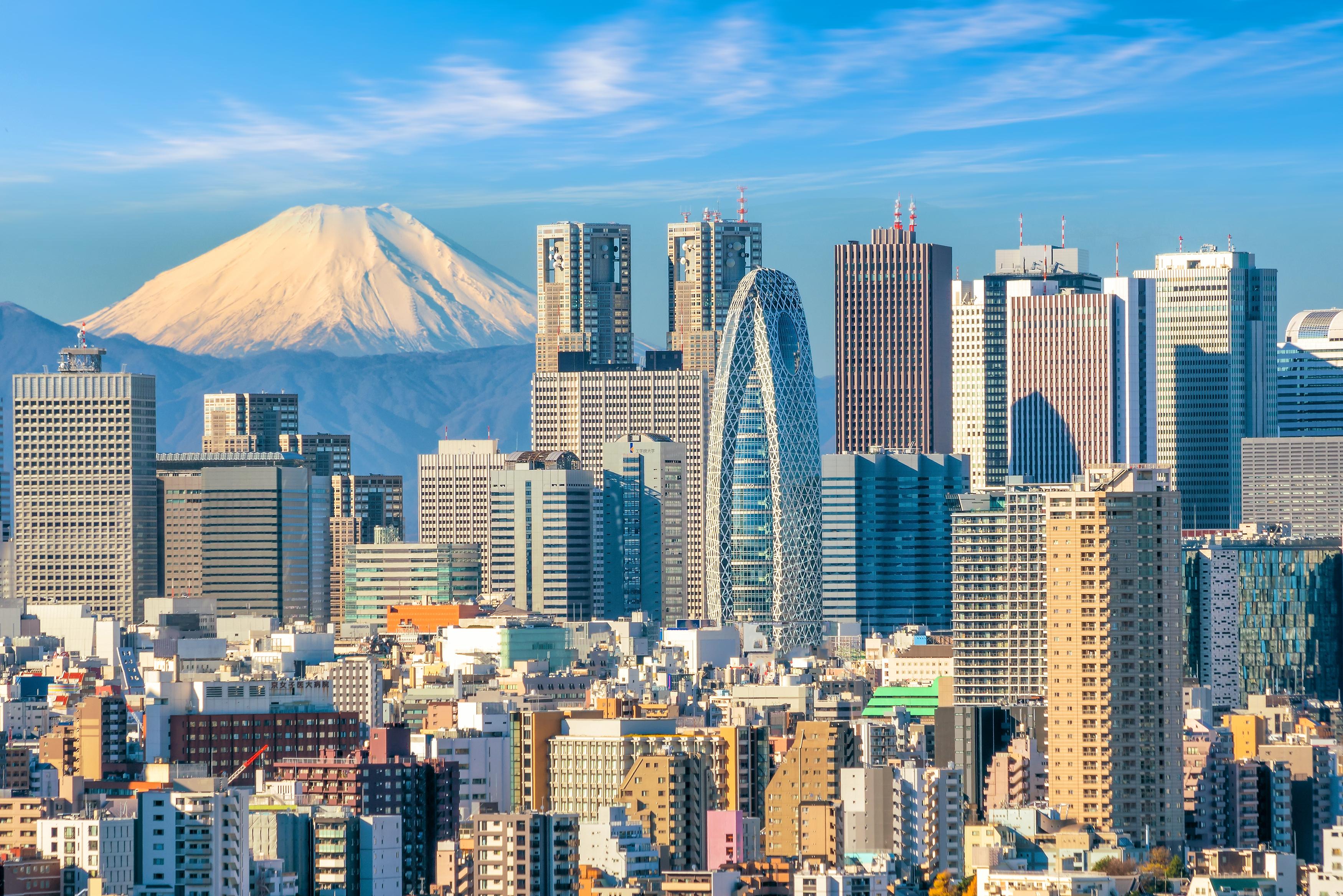 Mount Fuji watches over the Tokyo skyline. SHUTTERSTOCK