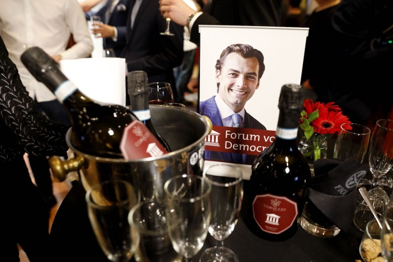 A campaign portrait of Dutch far-right Forum for Democracy (FvD) party Thierry Baudet is pictured next to alcool bottles during a provincial elections party electoral gathering in Zeist on March 20, 2019. - Netherland's Prime Minister is set to lose his majority in parliament's upper house after FvD surged in today's provincial elections, according to an exit poll. (Photo by Bart Maat / ANP / AFP) / Netherlands OUT        (Photo credit should read BART MAAT/AFP/Getty Images)