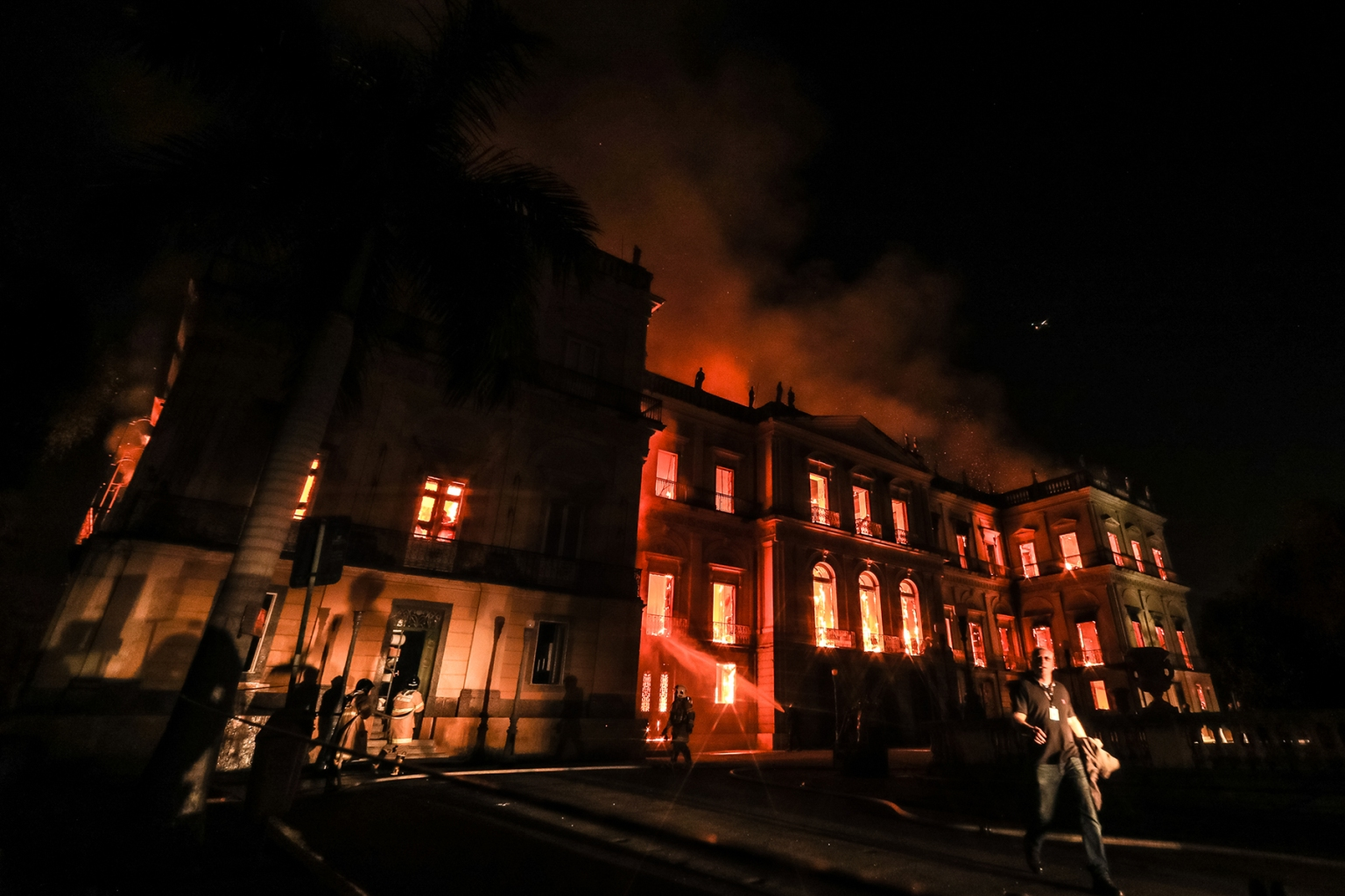 A fire destroys the National Museum of Brazil in Rio de Janeiro on Sept. 2, 2018. Founded in 1818 it housed several landmark collections including Egyptian artifacts and the oldest human fossil found in Brazil. The bulk of its collection of more than 20 million items was destroyed or badly damaged. (Buda Mendes/Getty Images)