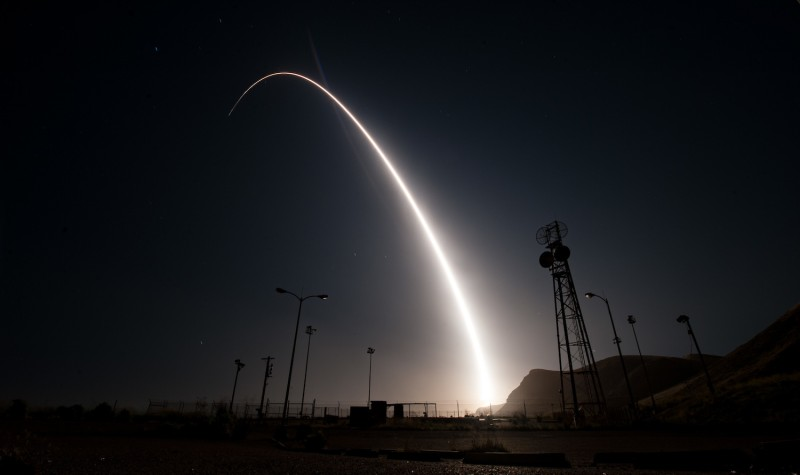 An unarmed Minuteman III intercontinental ballistic missile launches during an operational test from Vandenberg Air Force Base, Calif., on April 26. (U.S. Air Force photo by Senior Airman Ian Dudley)