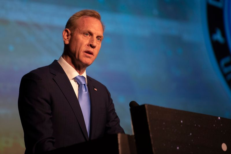 U.S. Acting Secretary of Defense Patrick Shanahan delivers remarks at the 35th Space Symposium in Colorado Springs, Colorado, on April 9. (Department of Defense photo by Lisa Ferdinando)