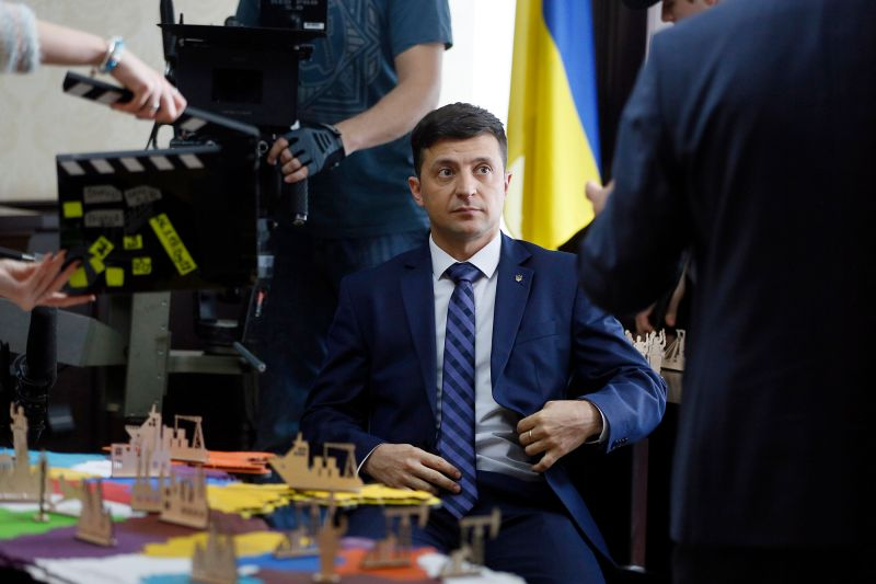 "The Ukrainian actor and comedian Volodymyr Zelensky on set in Kiev, Ukraine, during filming of  ""Servant of the People"" on Feb. 6."