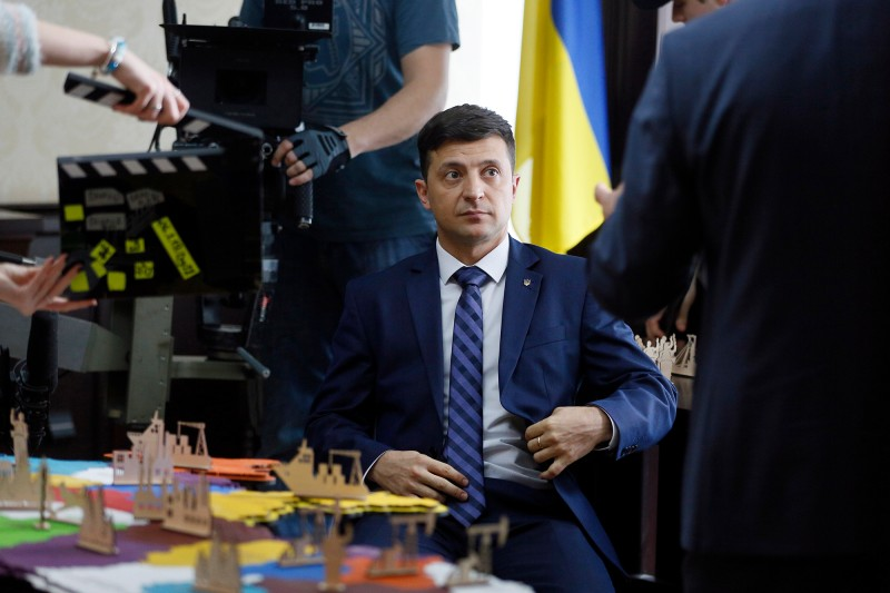 """The Ukrainian actor and comedian Volodymyr Zelensky on set in Kiev, Ukraine, during filming of  """"Servant of the People"""" on Feb. 6."""