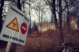 A radiation and European bison hazard sign on the road to the deserted village of Ostroglady, Belarus, on April 11. In the exclusion zone, wild nature is flourishing, which means not only radiation but also wild animals—such as wolves and bison—pose a threat to trespassers.