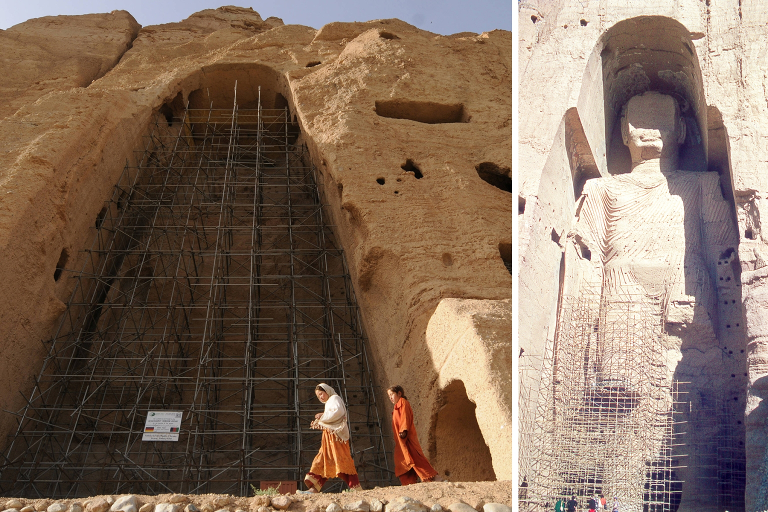 Left: Afghan girls walk past the empty seat of Buddha statue dated to the sixth century destroyed by the Taliban in Bamiyan on July 6, 2008. Right: View of the taller Bamiyan Buddha statue, known as Salsal, standing in his giant niche in November 1975. (Shah Marai/AFP/Getty Images/Morse Collection/Gado/Getty Images)
