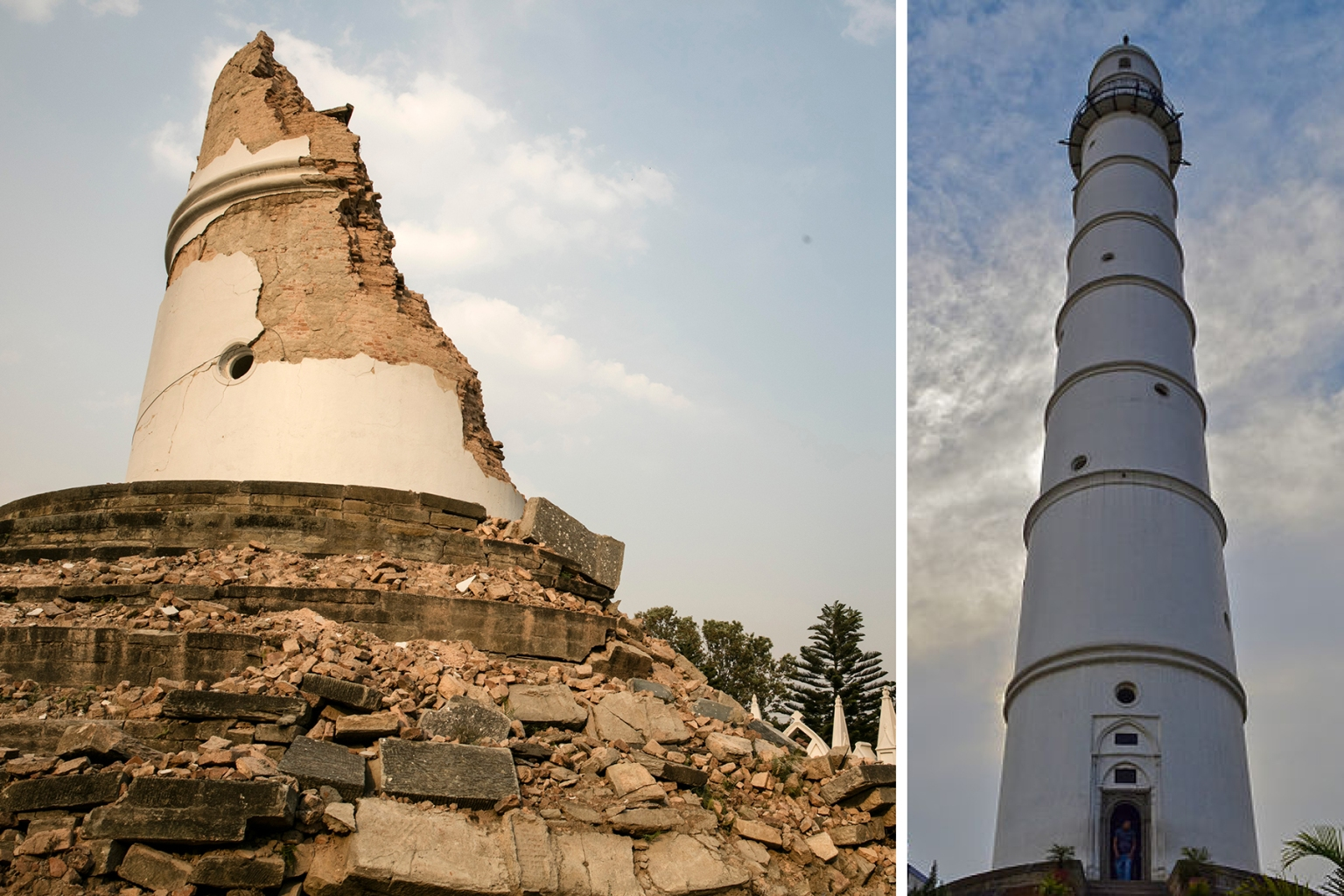 People view the ruins of the Dharahara Tower in Kathmandu, Nepal, on April 24, 2016. An earthquake in 2015 destroyed the nine-story tower, built in 1825.  (Paula Bronstein/Getty Images)