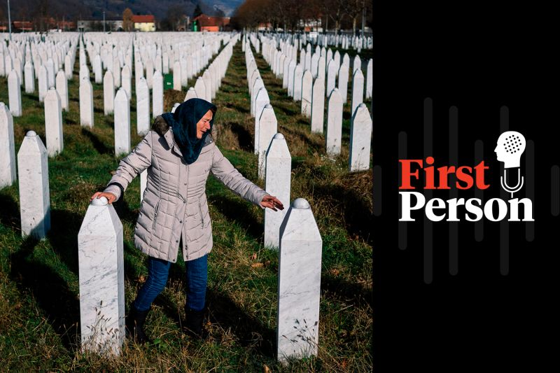 A woman mourns over a relative's grave at the Srebrenica-Potocari Memorial and Cemetery on Nov. 22, 2017. (Dimitar Dilkoff/AFP/Getty Images)