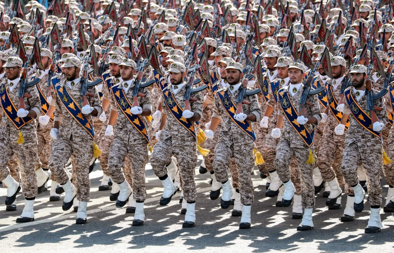 Members of Iran's Revolutionary Guards Corps march during the annual military parade marking the anniversary of the outbreak of the Iran-Iraq war in Tehran on Sept. 22, 2018. (Stringer/AFP/Getty Images)