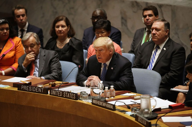 U.S. President Donald Trump chairs a United Nations Security Council meeting in New York City on Sept. 26, 2018. (Spencer Platt/Getty Images)