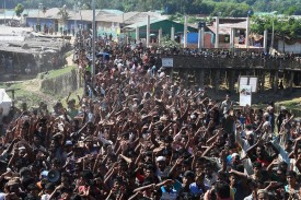 Rohingya refugees shout slogans at a protest against a disputed repatriation program at the Unchiprang refugee camp near Teknaf on Nov. 15, 2018. (Dibyangshu Sarkar/AFP/Getty Images)