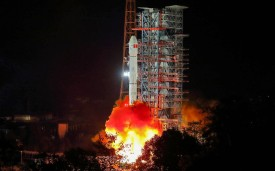 A Long March 3B rocket lifts off from the Xichang launch centre iin China's southwestern Sichuan province early on December 8, 2018. (STR/AFP/Getty Images)