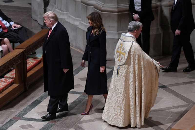 Donald Trump and first lady Melania Trump attend Christmas Eve services at the National Cathedral on December 24, 2018 in Washington.