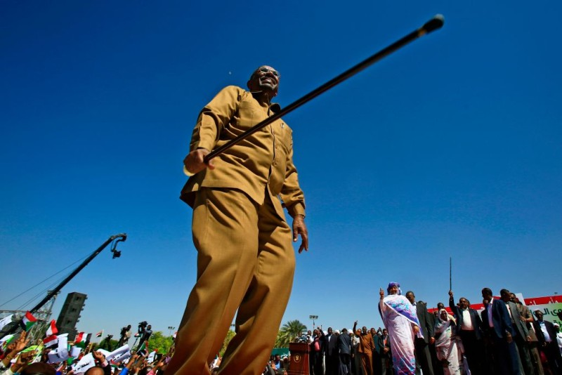 Omar al-Bashir appears during a rally with his supporters in the Green Square in Khartoum on Jan. 9, 2019. (Sharaf Shazly/AFP/Getty Images)