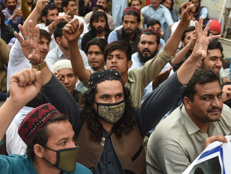 Activists of the Pashtun Protection Movement protest against the arrest of their activists and leaders in Karachi on Feb. 10.