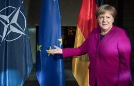 16 February 2019, Bavaria, München: Chancellor Angela Merkel (CDU) is waiting for Nato Secretary General Stoltenberg on the second day of the 55th Munich Security Conference. Numerous heads of state, government and ministers are expected at the world's most important meeting of experts on security policy. Photo: Sven Hoppe/dpa (Photo by Sven Hoppe/picture alliance via Getty Images)